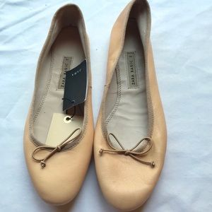 NWT Zara Nude Leather Ballet Flats